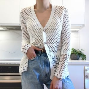 Michael Kors 100% Cotton Crochet knit cardigan